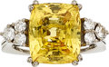 Estate Jewelry:Rings, Yellow Sapphire, Diamond, White Gold Ring . ...