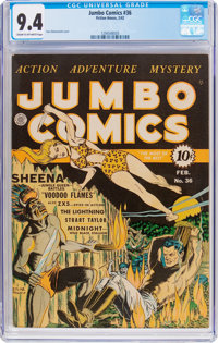Jumbo Comics #36 (Fiction House, 1942) CGC NM 9.4 Cream to off-white pages