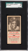 Baseball Cards:Singles (1950-1959), 1954 NY Journal American Willie Mays SGC 96 Mint 9 - Pop One, None Higher! ...