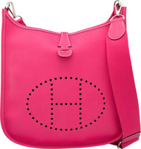 Hermes Rose Tyrien Epsom Leather Evelyne III PM Bag with Palladium Hardware P Square, 2012 Condit