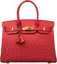 Hermes 30cm Rouge Vif Ostrich Birkin Bag with Gold Hardware X, 2016 Condition: 1 12