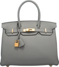 """Luxury Accessories:Bags, Hermes 30cm Gris Mouette Togo Leather Birkin Bag with Gold Hardware. X, 2016. Condition: 1. 12"""" Width x 8"""" Height ..."""