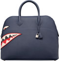 """Luxury Accessories:Bags, Hermes 45cm Blue Nuit Togo Leather Shark Mou Bolide Bag withPalladium Hardware. X, 2016. Condition: 1. 17""""Width ..."""