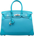 Luxury Accessories:Bags, Hermes Limited Edition 35cm Turquoise Togo & Swift Leather Ghillies Birkin Bag with Palladium Hardware. R Square, 2014. ...