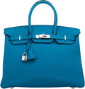 "Luxury Accessories:Bags, Hermes 35cm Blue Izmir Clemence Leather Birkin Bag with Palladium Hardware. R, 2014. Condition: 1. 14"" Width x 10""..."