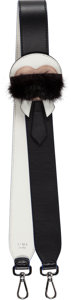 "Luxury Accessories:Accessories, Fendi Black & White Leather Karlito Shoulder Strap.Condition: 1. 1.5"" Width x 35"" Length. ..."