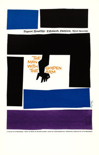 "The Man with the Golden Arm (Art Krebs Screen Studio, 1980s). Saul Bass Silk Screen Print (25"" X 39"")"