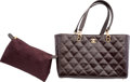 """Luxury Accessories:Bags, Chanel Brown Quilted Leather Tote Bag. Very Good Condition. 14"""" Width x 9"""" Height x 5.5"""" Depth. ..."""