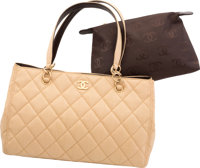 "Chanel Beige Quilted Burlap Tote Bag Very Good to Excellent Condition 14"" Width x 9"" Height x 5.5"
