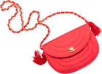 """Chanel Red Satin Evening Bag Very Good Condition 8"""" Width x 6"""" Height x 2.5"""" Depth"""