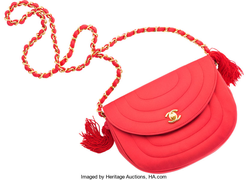 60626d5525 Chanel Red Satin Evening Bag. Very Good Condition. 8