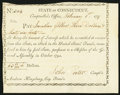 Colonial Notes:Connecticut, Connecticut Interest Transfer Certificate $3.66 Feb. 1, 1797Anderson CT-57 About New.. ...
