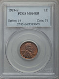 Lincoln Cents: , 1927-S 1C MS64 Red and Brown PCGS. PCGS Population: (193/8). NGC Census: (61/14). Mintage 14,276,000. ...