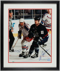 Hockey Collectibles:Photos, Wayne Gretzky and Mark Messier Dual Signed Oversized Photograph....