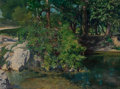Paintings, José Arpa y Perea (Spanish/American, 1858-1952). Autumn on River. Oil on canvas. 18 x 24 inches (45.7 x 61.0 cm). Signed...