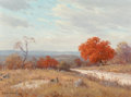 Fine Art - Painting, American, Porfirio Salinas (American, 1910-1973). Hill Country in theFall, 1967. Oil on canvas. 12 x 16 inches (30.5 x 40.6 cm). ...