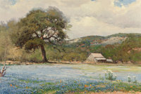 Robert William Wood (American, 1889-1979) Bluebonnet Time Oil on canvas 24 x 36 inches (61.0 x 91