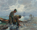 Fine Art - Painting, American, Paul Richard Schumann (American, 1876-1946). Fishermen,1921. Oil on canvas. 15 x 18-3/4 inches (38.1 x 47.6 cm). Signed...