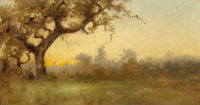 Julian Onderdonk (American, 1882-1922) Yellow Sunset Oil on canvas 8-1/2 x 16-1/4 inches (21.6 x
