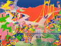 Fine Art - Work on Paper:Print, John David Himmelfarb (b. 1946). The Filming of Sunny Days,1972. Lithograph in colors on paper. 29-...