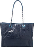 """Luxury Accessories:Bags, Chanel Navy Blue Leather Deauville Tote Bag. Condition: 1. 13.5"""" Width x 10"""" Height x 6"""" Depth. ..."""