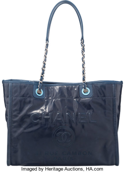 803b00071 Condition: 1.13; Luxury Accessories:Bags, Chanel Navy Blue Leather Deauville  Tote Bag.