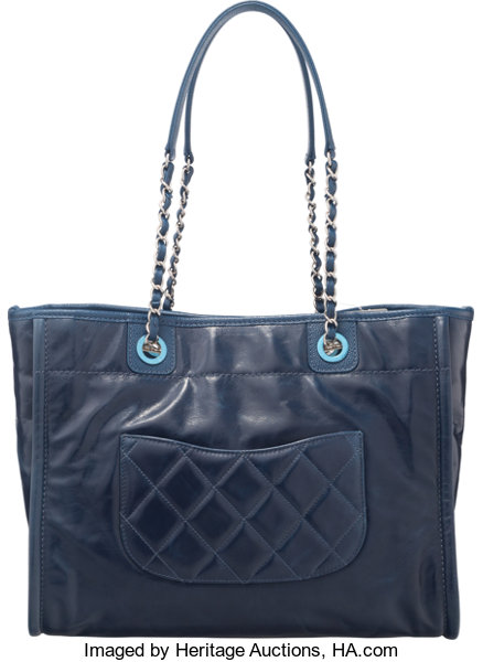 63e383858c5f Chanel Navy Blue Leather Deauville Tote Bag. Condition: 1. 13.5