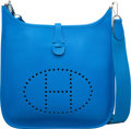 """Luxury Accessories:Bags, Hermes Blue Hydra Clemence Leather Evelyne III PM Bag withPalladium Hardware. X, 2016. Condition: 1. 11""""Width x ..."""
