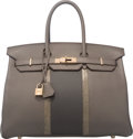 Luxury Accessories:Bags, Hermes Limited Edition 35cm Etain & Graphite Clemence Leatherand Gris Fonce Nilo Lizard Club Birkin Bag with Permabrass Hardw...