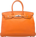 "Luxury Accessories:Bags, Hermes 35cm Orange H Clemence Leather Birkin Bag with PalladiumHardware. O Square, 2011. Condition: 4. 14"" Width..."