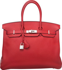 Hermes 35cm Rouge Casaque Clemence Leather Birkin Bag with Palladium Hardware Q Square, 2013 Cond