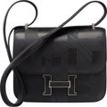 Luxury Accessories:Bags, Hermes Limited Edition 18cm Black Imprime Sombrero Leather On ASummer Night Constance Bag with Palladium Hardware. A,201...