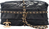 "Chanel Black Quilted Distressed Lambskin Leather Rock On Shoulder Bag Condition: 2 12"" Width x 7"