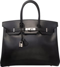 "Luxury Accessories:Bags, Hermes 35cm Black Calf Box Birkin Bag with Palladium Hardware. ESquare, 2001. Condition: 3. 15.5"" Width x 14""Hei..."