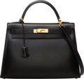 """Luxury Accessories:Bags, Hermes 32cm Black Calf Box Leather Sellier Kelly Bag with Gold Hardware. C Square, 1999. Condition: 3. 12.5"""" Width..."""