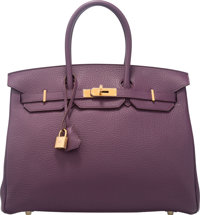 Hermes 35cm Cassis Fjord Leather Birkin Bag with Gold Hardware P Square, 2012 Condition: 1