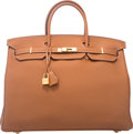 """Luxury Accessories:Bags, Hermes 40cm Gold Clemence Leather Birkin Bag with Gold Hardware. T, 2015. Condition: 1. 15.5"""" Width x 14"""" Height x..."""