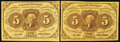 Fractional Currency:First Issue, Two Fr. 1230 5¢ First Issue Notes Choice About New or Better.. ... (Total: 2 notes)