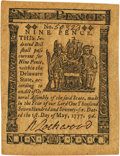 Colonial Notes:Delaware, Delaware May 1, 1777 9 Pence Fr. DE-84. PCGS Gem New 65PPQ.. ...