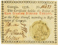 Colonial Notes:Georgia, Georgia 1776 Blue-Green Seal $1 Justice Fr. GA-71e. PCGS ExtremelyFine 45.. ...