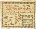 Colonial Notes:Georgia, Georgia 1777 No Resolution Date $3 Fr. GA-85. PCGS Extremely Fine45PPQ.. ...