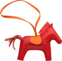 "Hermes Rouge Indienne, Feu & Rose Jaipur Milo Leather GriGri Rodeo MM Charm Condition: 1 4.5"" Wid"