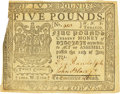 Colonial Notes:Virginia, Virginia July 11, 1771 5 Pounds Contemporary Counterfeit Fr. VA-61. PCGS Extremely Fine 40 Apparent.. ...
