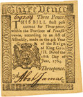 Colonial Notes:Pennsylvania, Pennsylvania June 18, 1764 3 Pence Fr. PA-115. PCGS Choice AboutNew 58.. ...
