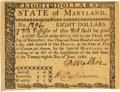 Colonial Notes:Maryland, State of Maryland June 28, 1780 $8 Fr. MD-121. PCGS Very Choice New 64PPQ.. ...