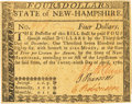 Colonial Notes:New Hampshire, State of New Hampshire April 29, 1780 $4 Fr. NH-182. PCGS ChoiceAbout New 58PPQ.. ...