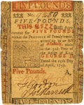 Colonial Notes:Pennsylvania, Pennsylvania April 25, 1759 5 Pounds Fr. PA-102. PCGS Very Fine 25 Apparent.. ...