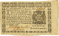 Colonial Notes:New York, New York August 13, 1776 $1/16 Fr. NY-198. PCGS Choice About New58PPQ.. ...