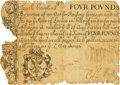 Colonial Notes:South Carolina, South Carolina August 27, 1715 Act 4 Pounds Fr. SC-17. PCGS Fine 15Apparent.. ...