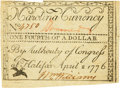Colonial Notes:North Carolina, North Carolina April 2, 1776 $1/4 Bird Flying Fr. NC-155a. PCGSExtremely Fine 45 Apparent.. ...